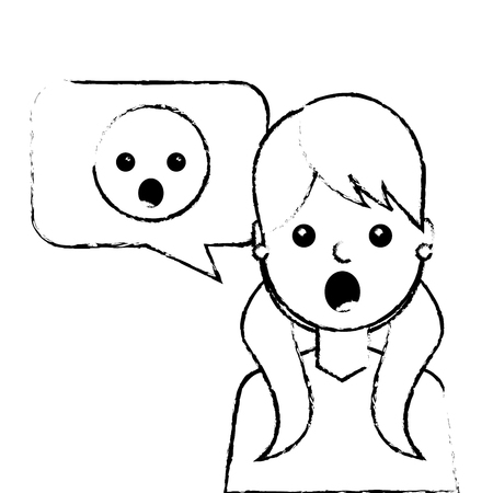 young woman with emoticon surprised in speech bubble vector illustration sketch design Illustration