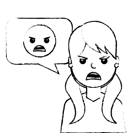 young woman with angry emoticon in speech bubble vector illustration sketch design Illustration