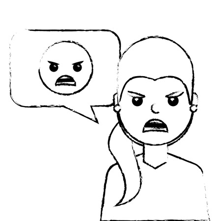 Woman with angry emoticon in speech bubble