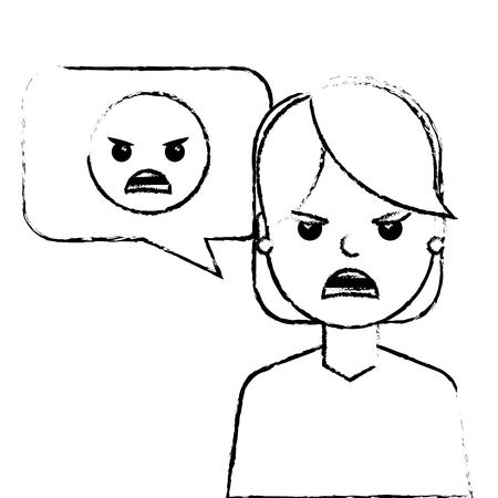 young woman with angry emoticon in speech bubble vector illustration sketch design Иллюстрация