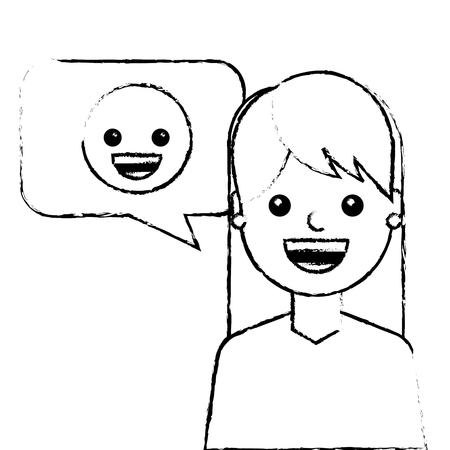 young woman with smile emoticon in speech bubble vector illustration sketch design