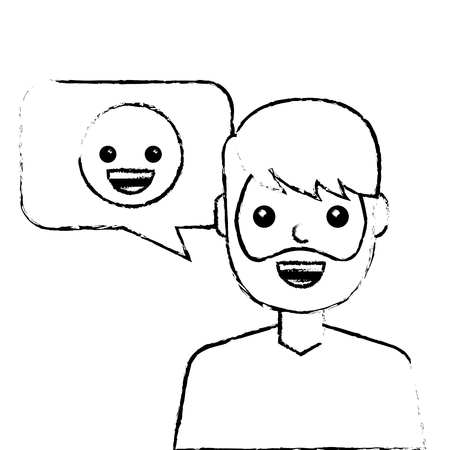 man with smile emoticon in speech bubble vector illustration sketch design Çizim