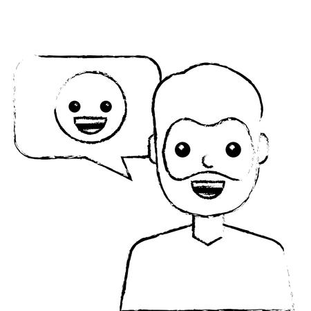 man with smile emoticon in speech bubble vector illustration sketch design Ilustrace