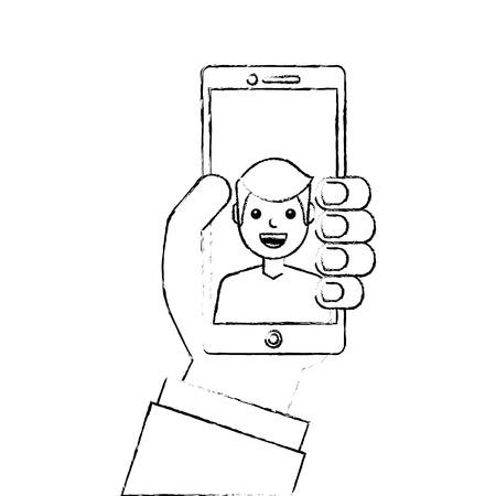 画面上の話ベクトルイラストスケッチデザイン上の男と手持ち電話  イラスト・ベクター素材