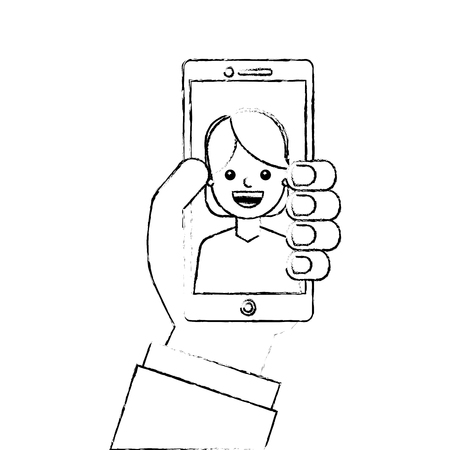 hand holding smartphone with woman on screen vector illustration sketch design Illustration