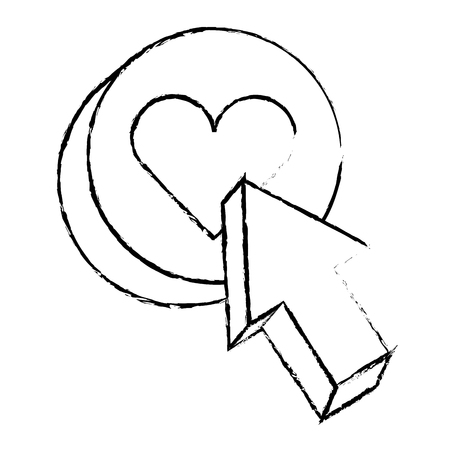 愛のハートボタンアイコンベクトルイラストスケッチデザインと矢印