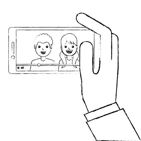 Mano che tiene il telefono cellulare con illustrazione vettoriale lettore video persone Archivio Fotografico - 93217042