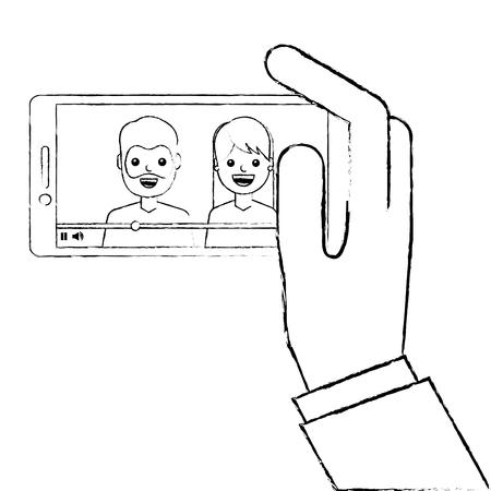 Mano che tiene il telefono cellulare con illustrazione vettoriale lettore video persone Archivio Fotografico - 93217043
