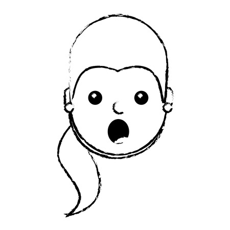 surprised young woman face expression facial vector illustration