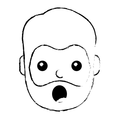 surprised man face expresion facial style vector illustration