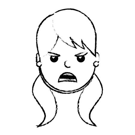 mooie vrouw boos gefrustreerd gelaatsuitdrukking cartoon vector illustratie