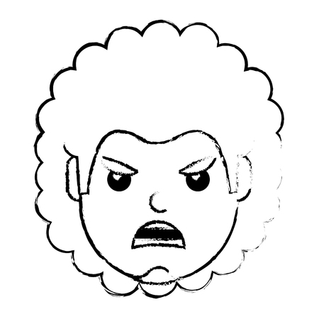 young man face angry expression cartoon vector illustration Ilustrace