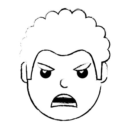 若い男は怒った表情漫画ベクトルイラストに直面しています