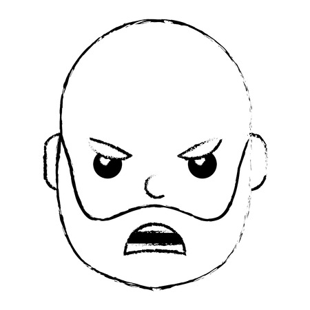 young man face angry expression cartoon vector illustration Illustration