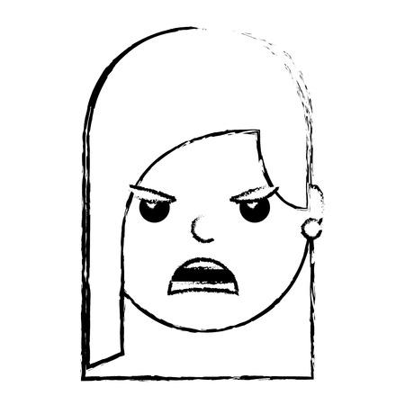 可愛い女性怒りイライラ顔表現漫画ベクトルイラスト