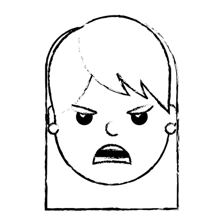 pretty woman angry frustrated facial expression cartoon vector illustration 版權商用圖片 - 93149251
