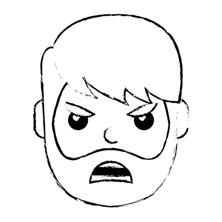 young man face angry expression cartoon vector illustration  イラスト・ベクター素材