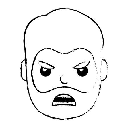 young man face angry expression cartoon vector illustration Illusztráció