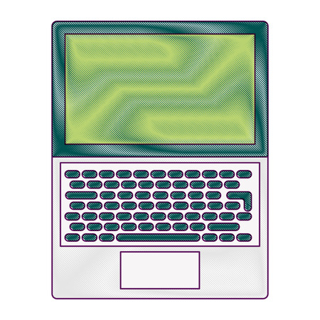 open laptop keyboard screen blank device vector illustration