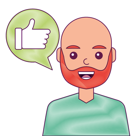man with hand like in speech bubble vector illustration Çizim
