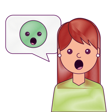 young woman with emoticon surprised in speech bubble vector illustration