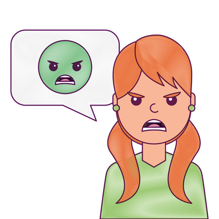 young woman with angry emoticon in speech bubble vector illustration Illustration