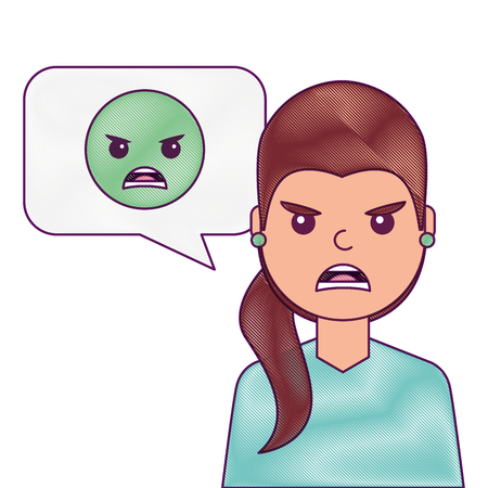 young woman with angry emoticon in speech bubble vector illustration Иллюстрация