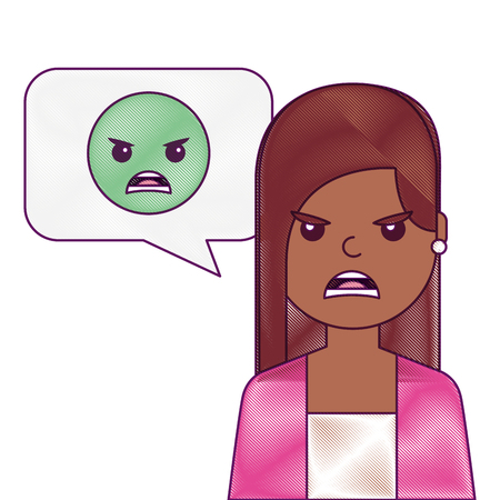 young woman with angry emoticon in speech bubble vector illustration Ilustração