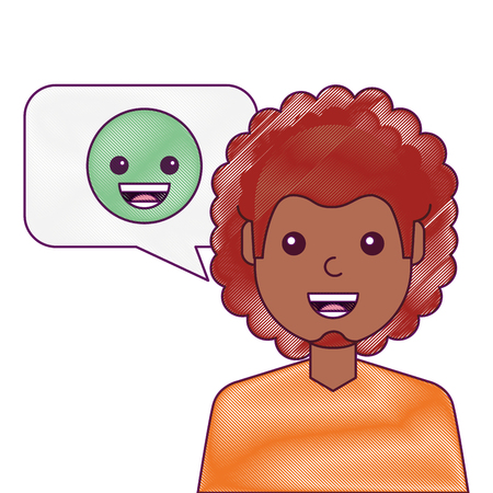 man with smile emoticon in speech bubble  illustration drawing design