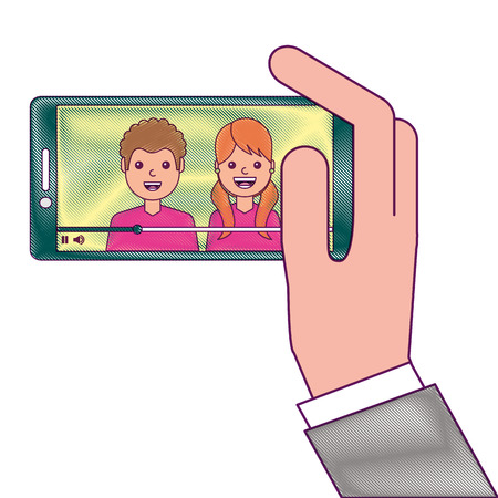 Hand holding phone mobile with people video player vector illustration line design drawing design Foto de archivo - 93190846
