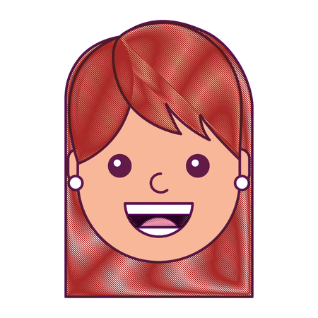 Woman face smiling happy expression image. Vector illustration drawing design.