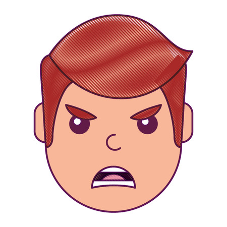 Young man face angry expression cartoon vector illustration drawing design