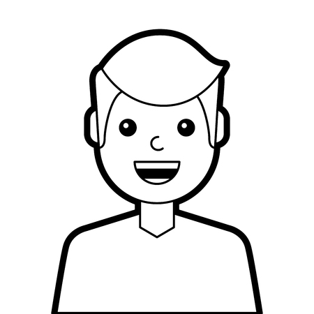 Illustration of a young man laughing.