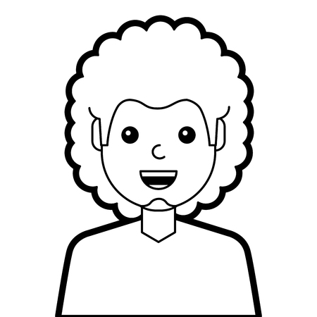 Portretmens die gelukkig de lijnontwerp van de karakter vectorillustratie lachen