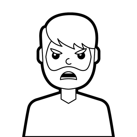 portrait man face angry expression cartoon vector illustration line design