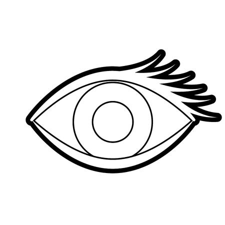 漫画の目の見た目の眉ビジュアルアイコンイラストラインデザイン