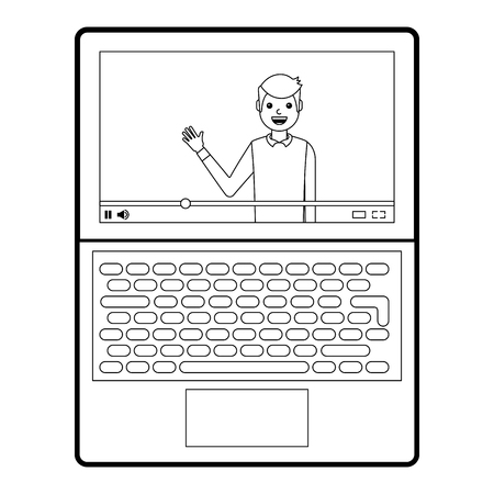 Influencer waving hand video content on screen laptop vector illustration line design