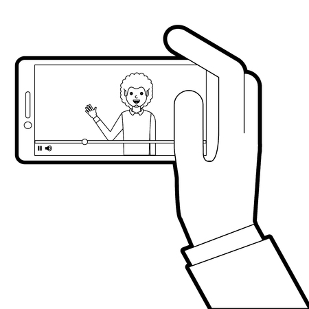 hand holding smartphone with video blogger on screen vector illustration line design