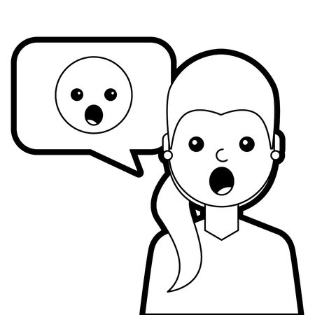 A young woman with emoticon surprised in speech bubble vector illustration line design