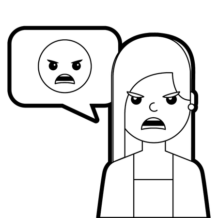 young woman with angry emoticon in speech bubble vector illustration line design