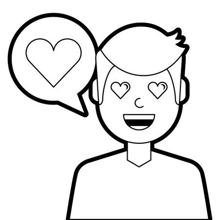 man with love heart in speech bubble vector illustration line design Illustration