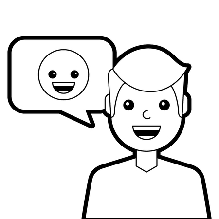 man with smile emoticon in speech bubble vector illustration line design Çizim