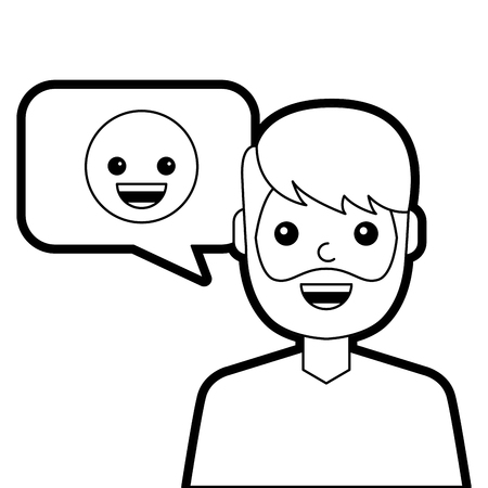 man with smile emoticon in speech bubble vector illustration line design Illustration