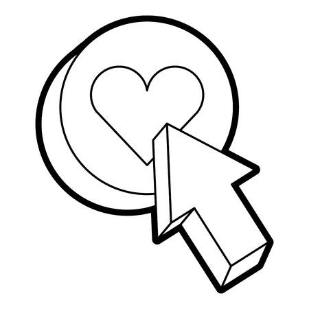 Arrow with love heart button icon vector illustration line design Illustration