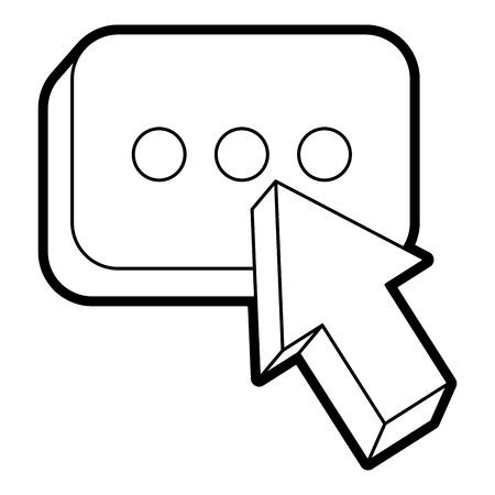 Arrow cursor with message button icon vector illustration line design Ilustração