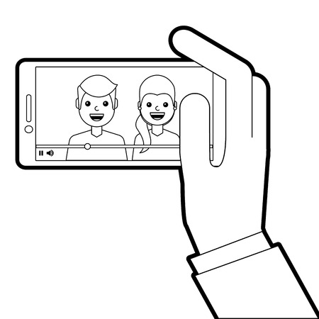 A hand holding phone mobile with people video player vector illustration line design