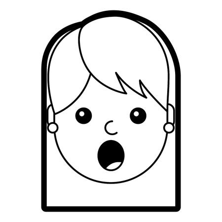 驚いた若い女性の顔表情顔ベクトルイラストラインデザイン  イラスト・ベクター素材