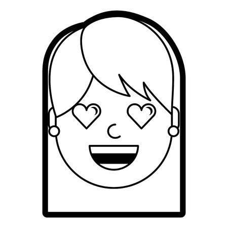 happy girl with her smiling face and heart shape eyes illustration Stock Illustratie