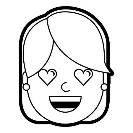 Glückliches Mädchen mit ihrem lächelnden Gesicht und Herzen Form Augen Illustration Standard-Bild - 93203240