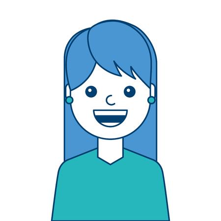 ●ポートレートウーマン顔笑顔幸せな表情画像ベクトルイラスト 青と緑のデザイン  イラスト・ベクター素材